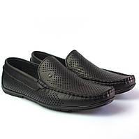 Мокасини чоловічі шкіряні літнє взуття з перфорацією чорні Rosso Avangard Alberto PerfBlack