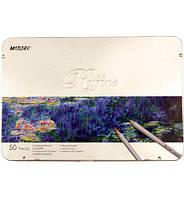 """Набор цветных карандашей 50 цв. MARCO """"Raffine"""" 7100-50TN в метал. коробке"""