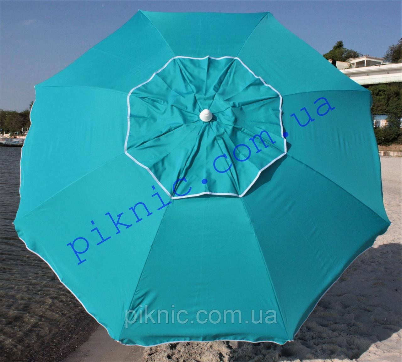Пляжный зонт 2 м клапан и наклон. Плотная ткань. Тканевый чехол. Зонтик для пляжа от солнца. Бирюза