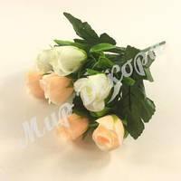 Букет роз в бутонах, белый и шампань, 30 см, фото 1