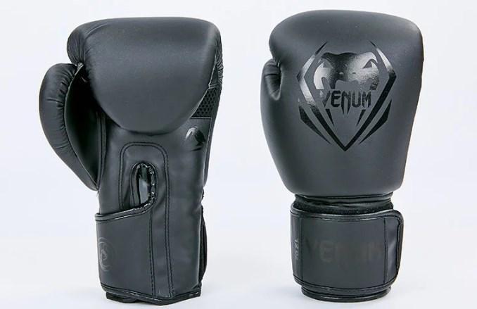 Боксерские перчатки  PU VENUM BO-8351-BK (реплика, черный) размер 10 унц.