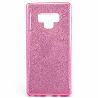 Силиконовый чехол накладка Fashion Case Glitter 3 in 1 для Samsung Galaxy Note 9 розовый