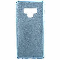 Силиконовый чехол накладка Fashion Case Glitter 3 in 1 для Samsung Galaxy Note 9 голубой