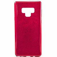 Силиконовый чехол накладка Fashion Case Glitter 3 in 1 для Samsung Galaxy Note 9 красный