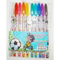 Гелевые ручки 10 цветов Футболист в блистере (с блестками и запахом)