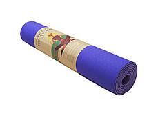 Йогамат, килимок для фітнесу, TPE, 2слоя, 6мм, рожевий/темно-рожевий.5415-2PP, фото 3