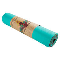 Йогамат, килимок для фітнесу, TPE, 2слоя, 6мм, рожевий/темно-рожевий.5415-2PP, фото 2