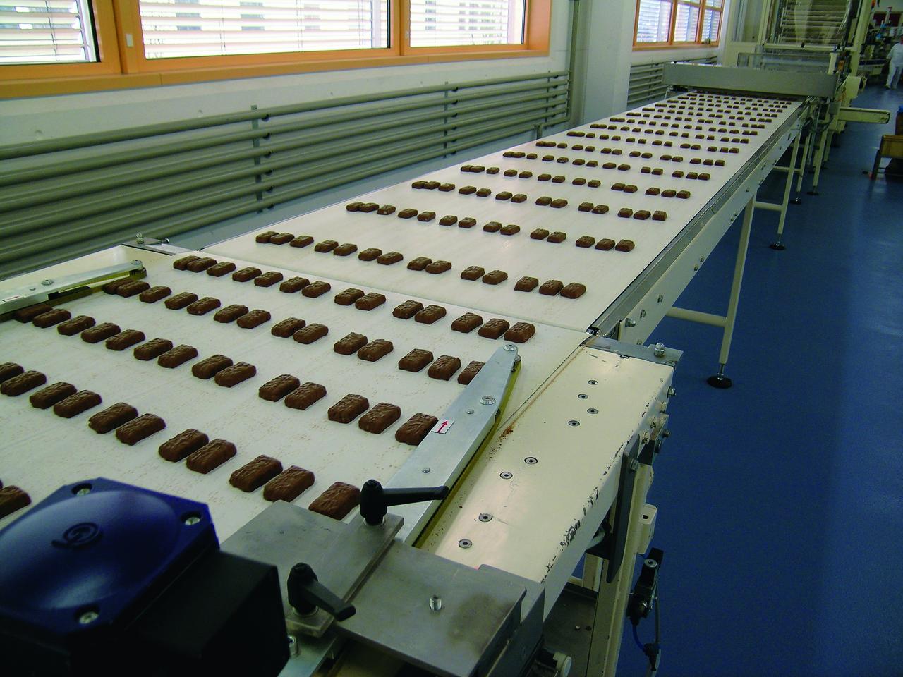 Транспортерна стрічка Habasit для глазурування кондитерських виробів