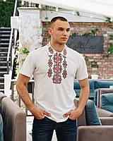 Трикотажная мужская вышиванка с воротником