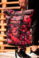 Большой красный рюкзак ролл-топ с внешним карманом и абстракцией