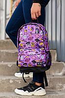 Фиолетовый городской рюкзак с прикольным принтом
