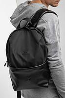 Черный городской рюкзак с карманом на молнии