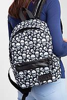 Городской рюкзак с внешним карманом на молнии и принтом в черепа