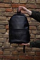 Черный городской рюкзак из гладкого кожзама с внешним карманом на молнии