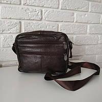 """Мужская кожаная сумка среднего размера коричневая """"Флориш"""", фото 1"""