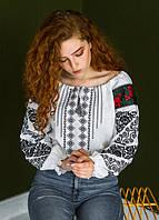 Домотканая женская вышиванка с геометрическим орнаментом