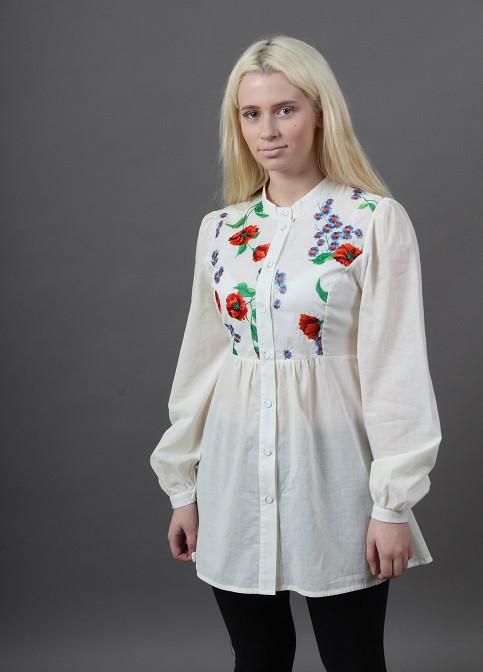 Легкая хлопковая блуза с элементами вышивки