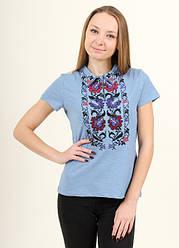 Жіноча футболка - вишиванка Ватра,короткий рукав, з коміром, р. 42,44,46,48,50, блакитна, жіноча вишиванка