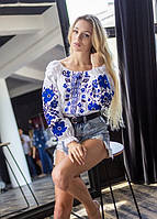 Домотканная женская блуза белая с синим орнаментом