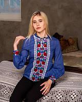 Синяя женская блуза с кружевом и вышивкой