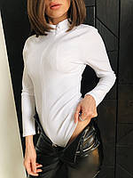 Женское однотонное Женские боди с молнией на груди и длинным рукавом 73mkp363