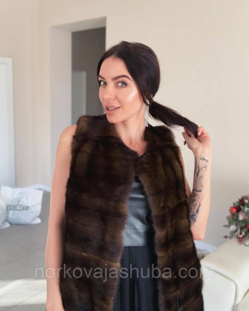 Норковая женская жилетка коричневая натуральный мех поперечка размер M