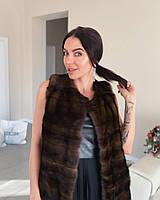 Норковая женская жилетка коричневая натуральный мех поперечка размер M L