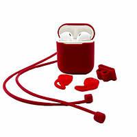 Чехол футляр XO Silicone Case для наушников Apple AirPods красный