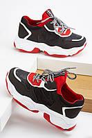 Шикарные замшевые женские кроссовки черный и красный цвета. Размеры 36, 37, 38, 39, 40