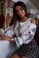 Домотканая блуза с вышивкой и открытыми плечами