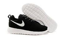 """Кроссовки унисекс Nike Roshe Run """"Черные с белой подошвой"""", замшевые, р. 37, 42, 45"""