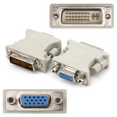 Переходник конвертер с DVI на VGA адаптер с винтами к видеокарте Белый