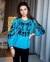 Стильная голубая льняная блуза с вышивкой