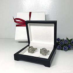 """Запонки """"Корона"""" Premium, сріблясті в коробочці з білим оксамитом."""