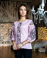 Домотканая блуза женская с вышивкой цвет сирень