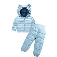 Комплект демисезонный (куртка + штаны) детский, Ушки, голубой