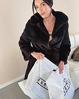Женская средней длины норковая шуба натуральная норка темно коричневая 50 XL, фото 1