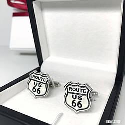"""Запонки """"Route 66"""" Premium, сріблясті в коробочці з білим оксамитом."""