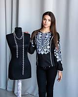 Вышитая блуза черная из натурального льна с белой вышивкой