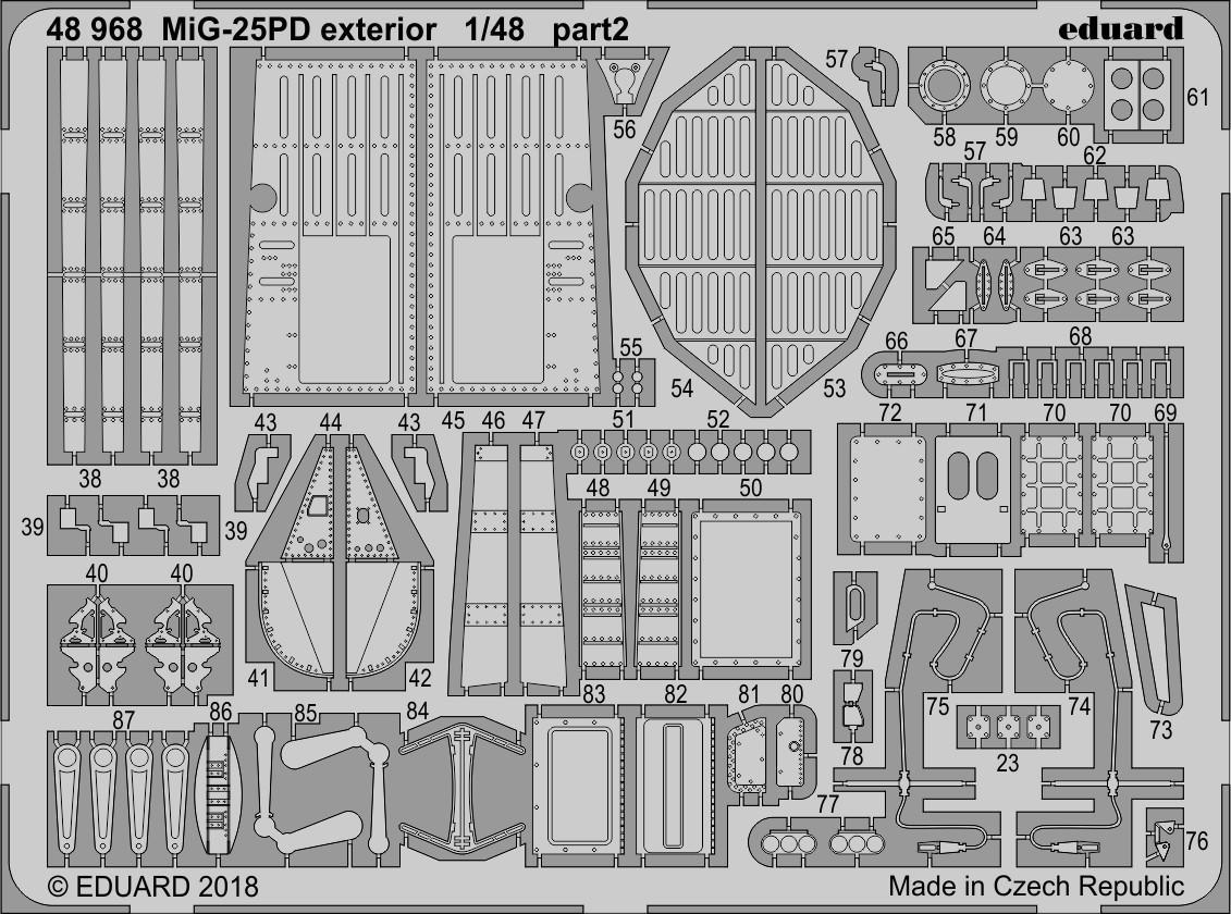 Фототравление (экстерьер) для сборной модели самолета МиГ-25ПД (ICM). 1/48 EDUARD 48968