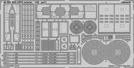 Фототравление (экстерьер) для сборной модели самолета МиГ-25ПД (ICM). 1/48 EDUARD 48968, фото 2