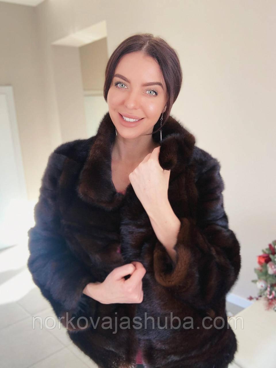 Женский норковый полушубок поперечка коричневого цвета размер 46 48 M - шоурум в Харькове