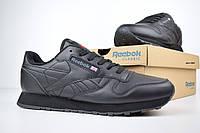 Мужские кроссовки Reebok Classic, кожа, пена, черные.