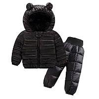 Комплект демисезонный (куртка + штаны) детский, Ушки, черный