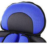 Детское автокресло бескаркасное 9-36 кг. Кресло автомобильное до 12 лет  портативное  (синее), фото 6