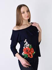 Женская футболка - вышиванка Вдохновение, рукав 3/4, с воланом, р. 42,44,46,48,50,52 темно-синя