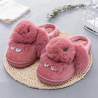 Тапочки домашние женские меховые Кролики. Теплые тапки Зайчики, размер 39-40 (розовые)