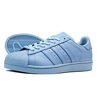 """Кроссовки женские Adidas SUPERSTAR (нат.кожа) """"Голубые"""" р. 39-40, фото 1"""