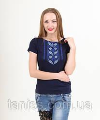Женская футболка - вышиванка Волшебное колосье, короткий рукав, р. 42,44,46,48,50,52,54,56 с синим