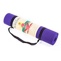 Йогамат, коврик для фитнеса, TPE+TC, 1слой, 6мм, 183*61*0,6 см, коралловый. 5580-18R, фото 3